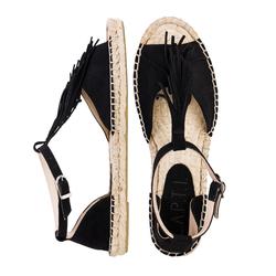Замшевые черные сандалии L.A.P.T.I. с бахромой на подъеме