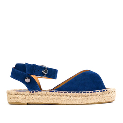 Women's sandals-espadrilles made of natutal suede Lapti blue on high soled