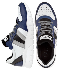 Men's sneakers made of genuine leather and saw cut combined Lapti blue-white