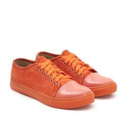 Женские замшевые оранжевые  кеды  с вставкой из лаковой кожи (W)