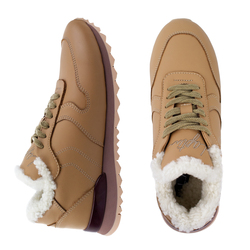 Women's sneakers made of genuine leather Lapti beige with white fur