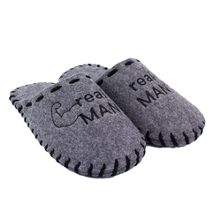 Man's slippers made of felt Lapti gray embroidery arms real MAN