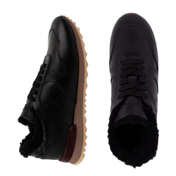 Women's sneakers made of genuine leather Lapti black with black fur