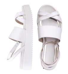 Women's sandals made of genuine leather Lapti white on the straps