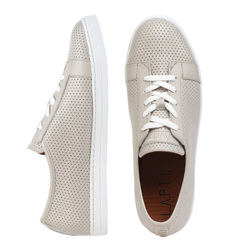 Man's sneakers made of genuine leather Lapti beige with perforation