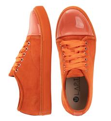 Замшевые слипоны оранжевые на шнурках с вставкой из лаковой кожи (W)