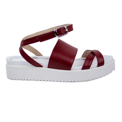 Women's sandals made of genuine leather Lapti red on the straps