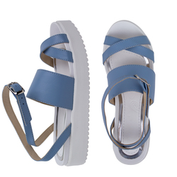 Women's sandals made of genuine leather Lapti blue on the straps