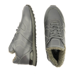Men's sneakers made of genuine leather Lapti gray on gray fur