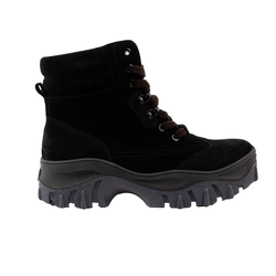 Women's boots made of natural suede and nubuck Lapti black in military style