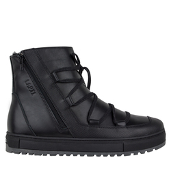 Ботинки черные две кожи на меху змейка косая 9230(M)