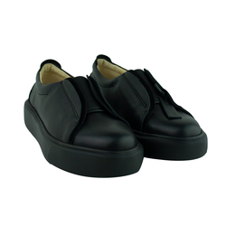 Women's slip-ons made of genuine leather Lapti black with an elastic band