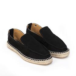 Замшевые черные лоферы-эспадрильи квадратный носок_92106 (W)