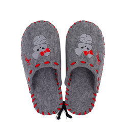 Women's slippers made of felt Lapti gray mouse embroidery