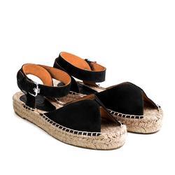 Замшевые черные сандалии-эспадрильи открытые на высокой подошве _9185 (W)