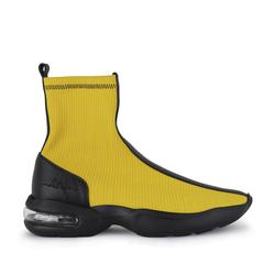 Кросівки-гольфи з італійської тканини і шкіри Lapti жовті