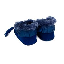 Пинетки на натуральном меху Lapti темно-синие