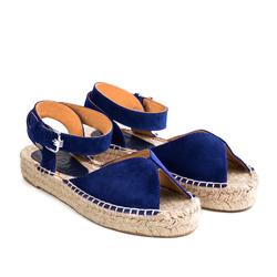Замшевые синие сандалии-эспадрильи открытые на высокой подошве _9185 (W)