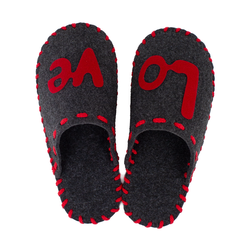 "Women's slippers made of felt Lapti dark gray with the inscription ""LOVE"""