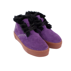 Women's slip-on made of split leather Lapti purple color on wool with embroidery