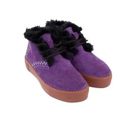 Сліпони жіночі зі спилку Lapti фіолетові на вовні з вишивкою