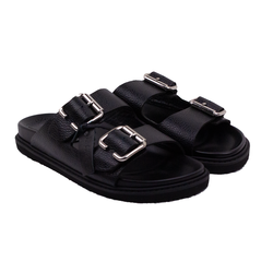 Women's flip-flops made of genuine leather Lapti black on fasteners