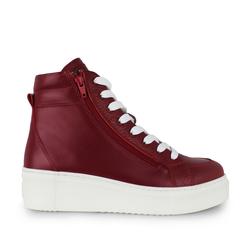 Кожаные красные ботинки на утеплителе две змейки шнуровка (W)