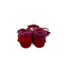 Пинетки на натуральном бордовом меху Lapti красные