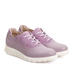 Кожаные сиреневые туфли с шнуровкой_9141(W)