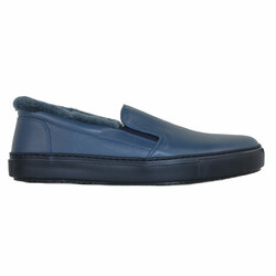 Blue leather fur-lined slip-on shoes (M)