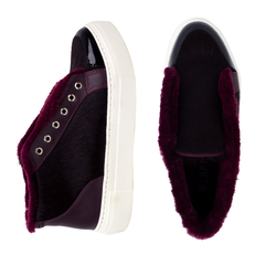 Women's slip-on made of genuine leather Lapti burgundy on burgundy fur with a pony print