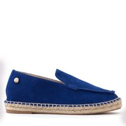 Women's loafers-espadrilles made of natural suede Lapti blue with square-toed