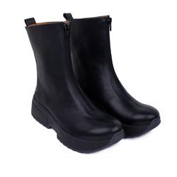 Ботинки женские из натуральной кожи Lapti черные с молнией спереди