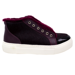 Combined burgundy fur-lined slips-on shoes (W)