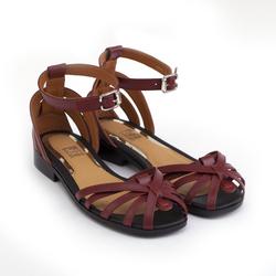 Сандалии женские из натуральной кожи Lapti темно-красные ретро