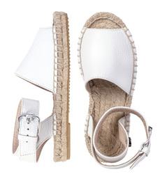 Кожаные белые сандалии ремни _8135 (K)