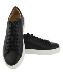 Кожаные черные кеды c белой подошвой и белыми шнурками(W)