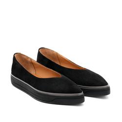 Замшевые черные слипоны-лодочки с зауженным носком_9165(W)