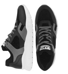 Кроссовки кожаные черно-серые 9538 (M)