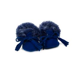 Пинетки на натуральном меху Lapti ярко-синие