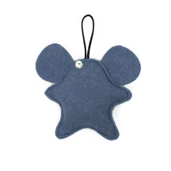Toy-trinket mouse made of felt blue jeans