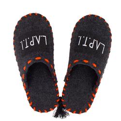 Тапочки домашние женские из войлока Lapti черные с оранжевой подошвой