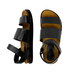 Man's sandals made of genuine leather Lapti black with rubber bands on the rise