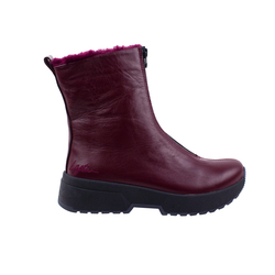 Women's boots made of genuine leather Lapti burgundy insulated with a zipper in front