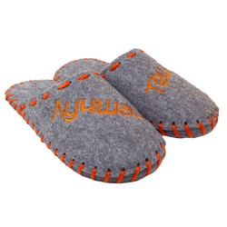 "Women's slippers made of felt Lapti gray ""Best Mother-in-law"" embroidery orange"