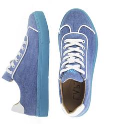 Кеды женские из джинсовой ткани Lapti на голубой подошве
