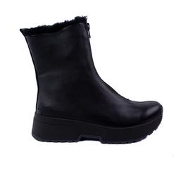 Ботинки женские из натуральной кожи Lapti черные утепленные с молнией спереди