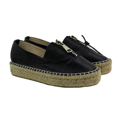 Women's espadrilles made of genuine leather Lapti with zipper on the rise