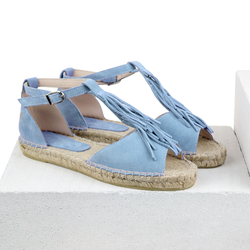 Women's sandals made of natural suede Lapti blue with a fringe
