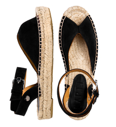 Women's sandals-espadrilles made of natutal suede Lapti black on high soled